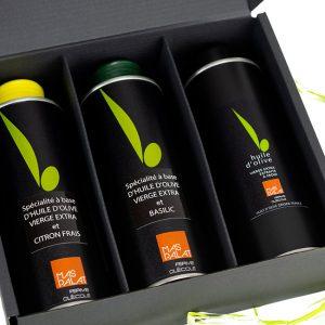 Coffret cadeau de 3 bouteilles d'huile d'olive